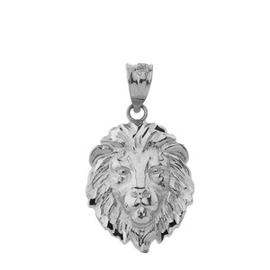 """Lion's Head Small Pendant Necklace (1.01"""") in Gold (Yellow/ Rose/White)"""