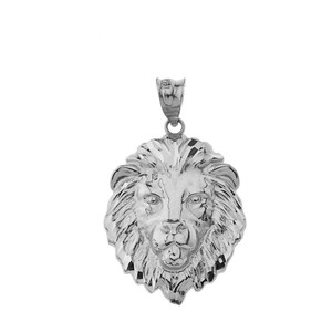 "Lion's Head Medium Pendant Necklace (1.32"") in Sterling Silver"