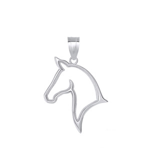 Outlined Stallion Horse Head Pendant Necklace in Sterling Silver