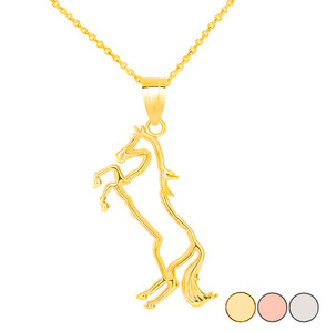 Jumping Stallion Horse Pendant Necklace in Gold (Yellow/ Rose/White)