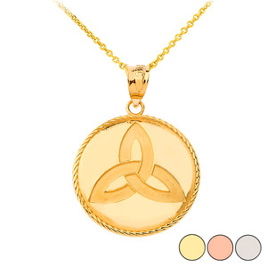 Celtic Trinity Knot Pendant Necklace in Gold (Yellow/ Rose/White)