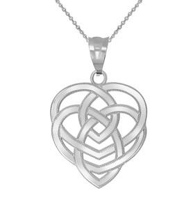 Celtic Motherhood Trinity Knot Pendant Necklace in Sterling Silver