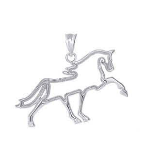 Outlined Running Stallion Horse Pendant Necklace in Sterling Silver