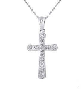Dainty Diamond Gold Cross Pendant Necklace in Gold (Yellow/ Rose/White)