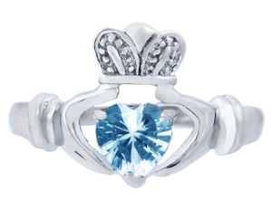 Silver Claddagh Ring with Aquamarine CZ Heart