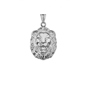 Diamond Cut Lion Pendant Necklace In Gold (Yellow/Rose/White)