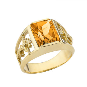 Orthodox Cross Mens Ring With  Personalized  (LC)  Birthstone In 14K Yellow Gold