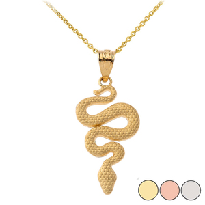 Textured Snake-Serpent Pendant Necklace in Gold (Yellow/ Rose/White)