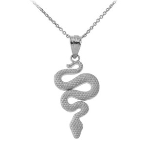 Textured Snake-Serpent Pendant Necklace in Sterling Silver