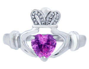 Silver Claddagh Ring with Pink CZ Heart