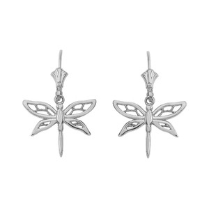 Adorable Dragonfly Leverback Earrings in Sterling Silver