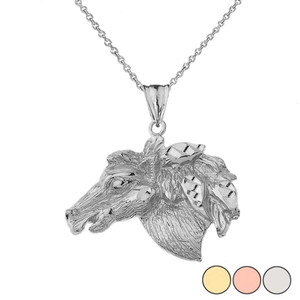 Horse Head Pendant Necklace In  Gold (Yellow/Rose/White)