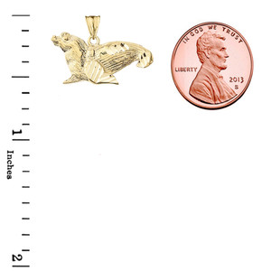 Sea Lion  Pendant Necklace In Gold  (Yellow/Rose/White)