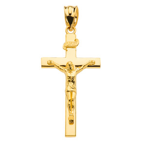 Jesus Crucifix Cross Pendant Necklace In (Yellow/Rose/White) Gold