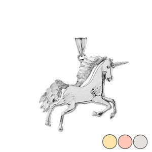 Unicorn Pendant Necklace in Gold (Yellow/Rose/White)