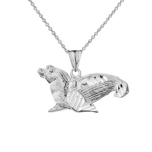 Sea Lion Pendant Necklace in Sterling Silver