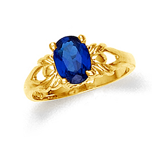 Baby girl ring with sapphire cz in 10k or 14k yellow gold.