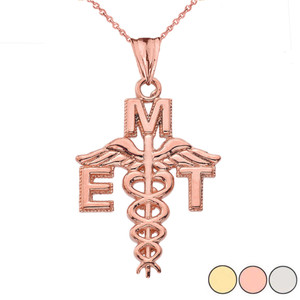 Caduceus EMT Pendant Necklace in Gold (Yellow/Rose/White Gold)