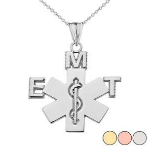 Emergency Medical Technician (EMT) Pendant Necklace in Gold (Yellow/Rose/White Gold)