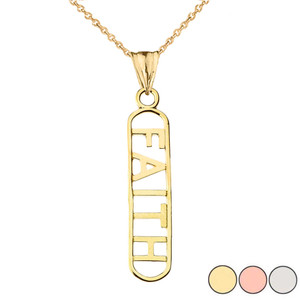 """""""FAITH"""" Pendant Necklace in Gold (Yellow/Rose/White Gold)"""
