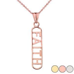 """FAITH"" Pendant Necklace in Gold (Yellow/Rose/White Gold)"