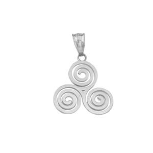 Celtic Knot Triskele Swirl Pendant Necklace in Sterling Silver