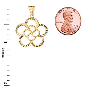 Designer Sparkle Cut Flower Pendant Necklace in Gold (Yellow/Rose/White Gold)