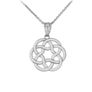 Celtic Knot Flower Pendant Necklace in Gold (Yellow/ Rose/White)