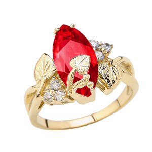Beautiful Floral Personalized (LC) Birthstone Marquise Ring In 10K Yellow Gold