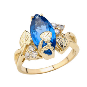 Beautiful Floral Personalized (LC) Birthstone Marquise Ring In 14K Yellow Gold