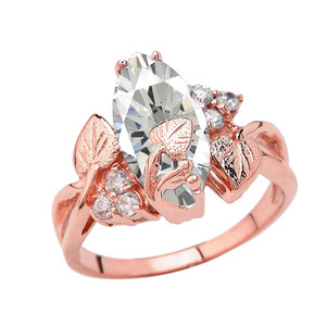 Beautiful Floral Personalized (LC) Birthstone Marquise Ring In 14K Rose Gold