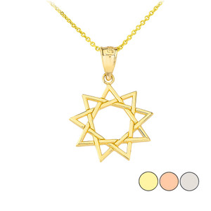 9 Star Baha'i Pendant Necklace in Gold (Yellow/ Rose/White)