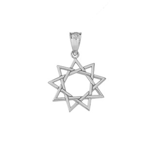 9 Star Baha'i Pendant Necklace in Sterling Silver