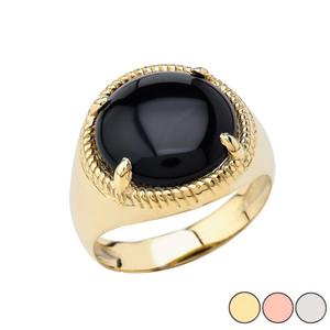 Men's  Black Onyx Milgrain Ring In Gold (Yellow/Rose/White)