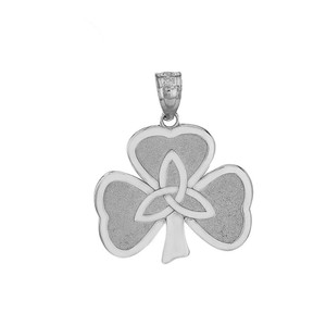 Celtic Trinity Knot Shamrock Pendant Necklace in Gold (Yellow/ Rose/White)