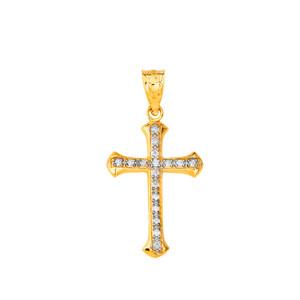Elegant Diamond Cross Pendant Necklace in Gold (Yellow/ Rose/White)