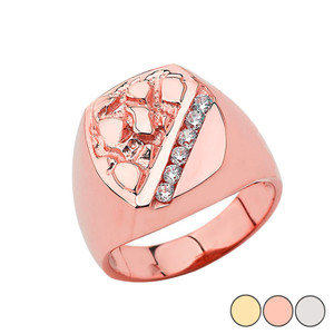 Men's Nugget Ring In Gold (Yellow/Rose/White)