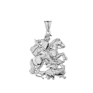 Saint George Pendant Necklace In Sterling Silver