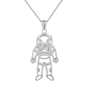 Astronaut  Pendant Necklace In Sterling Silver