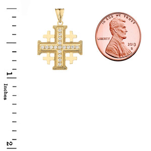 Crusaders Cross Pendant Necklace in Gold (Yellow/Rose/White)