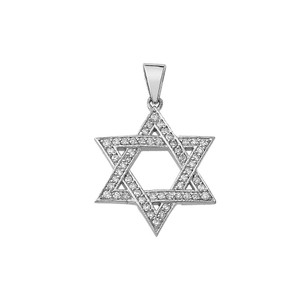 Star of David Diamond Pendant Necklace in Gold (Yellow/ Rose/White)