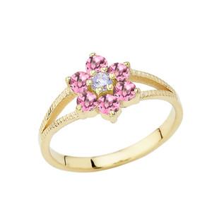 Dainty Milgrain Flower Personalized Birthstone Ring In 10K Yellow Gold
