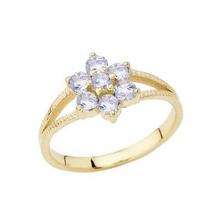 Dainty Milgrain Flower Personalized Birthstone Ring In 14K Yellow Gold