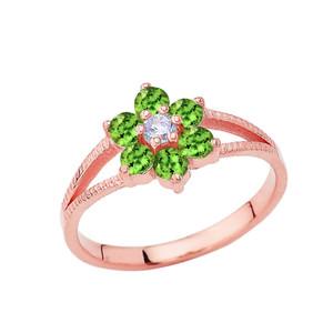 Dainty Milgrain Flower Personalized Birthstone Ring In 10K Rose Gold