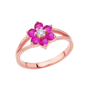 Dainty Milgrain Flower Personalized Birthstone Ring In 14K Rose Gold