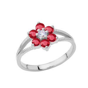 Dainty Milgrain Flower Personalized Birthstone Ring In 14K White Gold