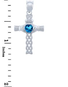 Silver Celtic Cross Pendant with Blue CZ Heart