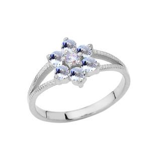 Dainty Milgrain Flower Personalized Birthstone Ring In Sterling Silver