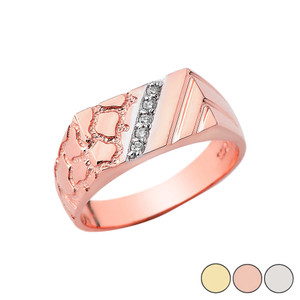 Diamond Nugget Ring In Solid Gold (Yellow/Rose/White)