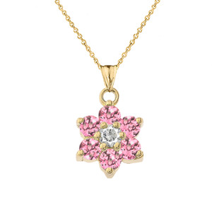 Dainty Milgrain Flower Personalized Birthstone  Pendant Necklace In Yellow Gold